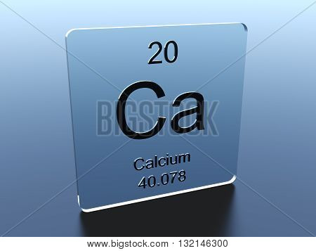 Calcium symbol on a blue glass square 3D render