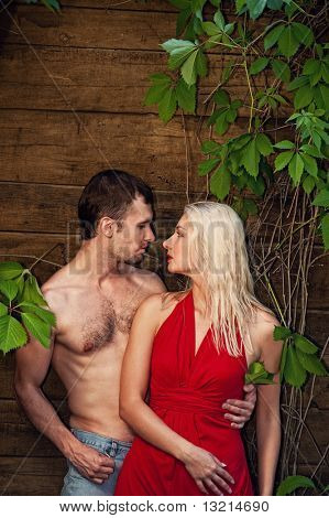 Sexy couple in love outdoor