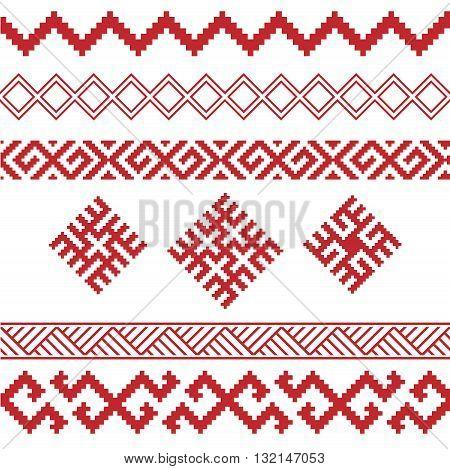slavic ornaments patterns vector set, monochrome on transparent background, traditional ethnic ornamental elements