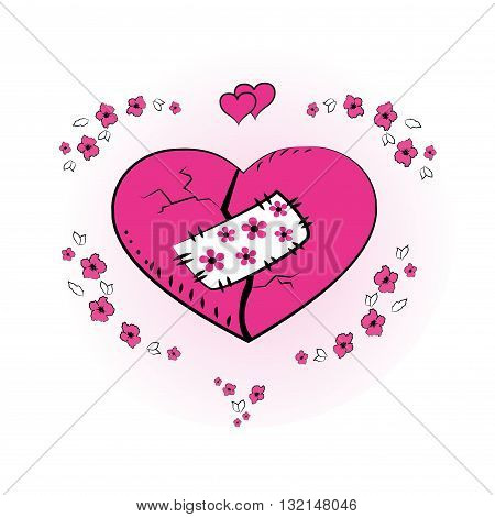 Pink heart with a patch greating cardvector illustration poster