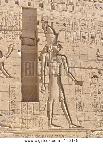 bas relief of horus god  falcon-headed man  with symbol of life (ank)  in his hand -  philae temple, egypt, africa poster