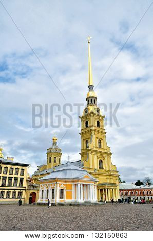 SAINT PETERSBURG RUSSIA - MAY 27 2016. Peter and Paul cathedral with belfry and boat house of Peter the Great Peter and Paul Fortress St Petersburg Russia