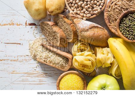 Selection of comptex carbohydrates sources on white background, copy space