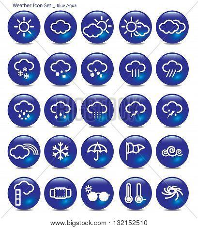 Vector Illustration icon set- weather blue aqua