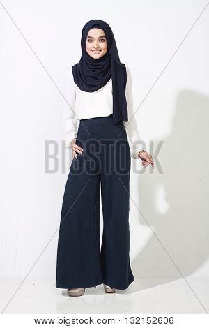Asian Woman Model Posing On White Wall