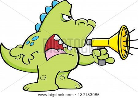 Cartoon illustration of a dinosaur shouting into a megaphone.