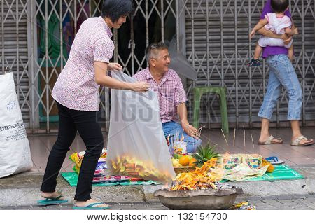 The Hungry Ghost Festival In Kuching, Borneo, Malaysia