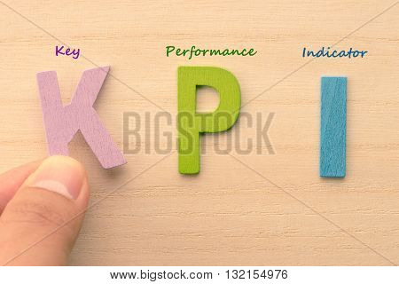 Hand arrange letters as KPI (Key Performance Indicator)