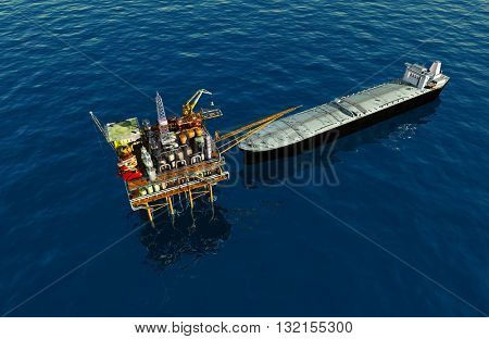 Oil production into the sea from above. 3d render