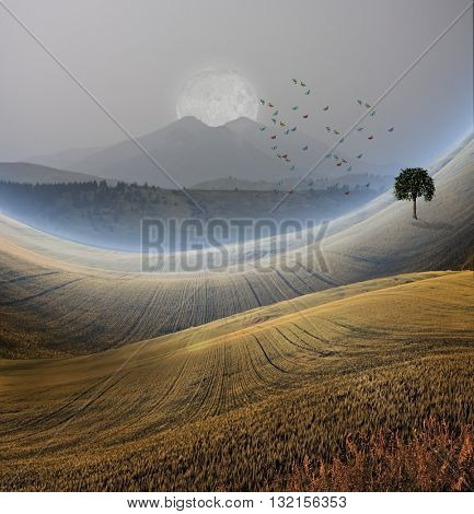 Peaceful Landscape with Mountain  3D Render