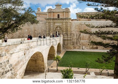 Mdina Malta - May 04 2016: Gateway to the Mdina Malta - Old Capital and the Silent City of Malta - Medieval Town