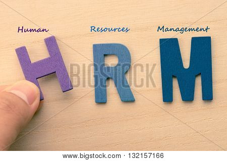 HRM wood letters (or Human Resources Management)