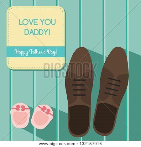 Happy fathers day greeting card design set with man s shoes and baby booties vector illustration