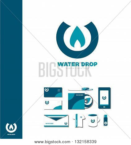 Vector company logo icon element template water drop waterdrop logo aqua