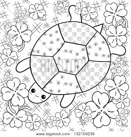 Cute turtle adult coloring book page. Happy smiling turtle in garden. Whimsical line art vector illustration.
