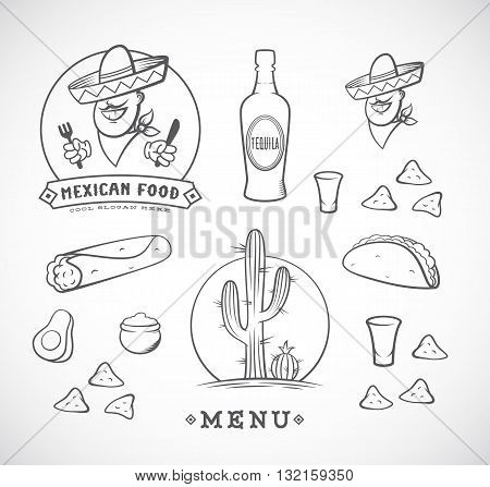 Mexican Food Vector Illustrations Set with Logo Template for Restaurant Menu, Cafe, Meal Delivery. Smiling Man in Traditional Sombrero, Tacos, Burritos, Tequila, etc. Isolated.