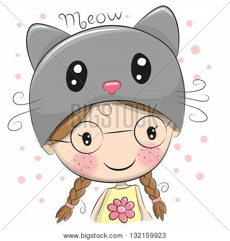 Portrait of a Cute Cartoon Girl in a cat hat