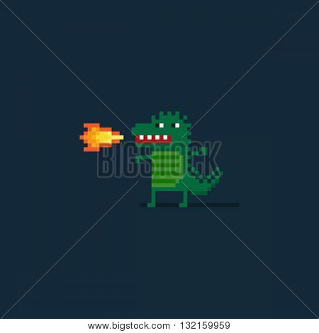 Pixel art funny dragon character belching fire on dark background