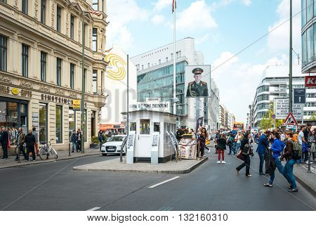 BERLIN, GERMANY-May 18: Checkpoint Charlie. Former bordercross in Berlin on May 18, 2016. Berlin Wall crossing point between East and West Berlin during the Cold War. BERLIN, GERMANY