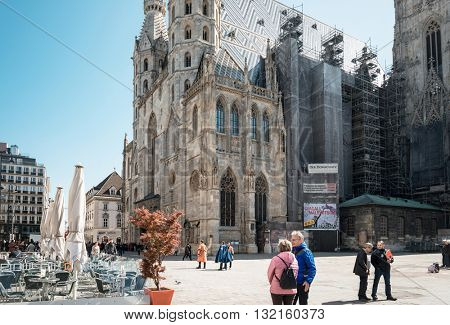 VIENNA, AUSTRIA - April 19, 2016 : Tourists on foot Graben Street in Vienna on April 19, 2016.Vienna is Austria's primary city, with a population of about 1.757 million.