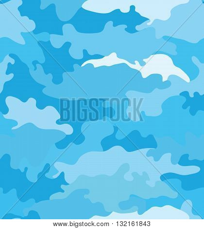 Romantic trend style camouflage blue seamless pattern