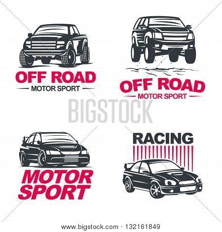 Set of four sport cars logo, badge illustration on white background. Drag racing, Tuning, Motor Sport. EPS 10