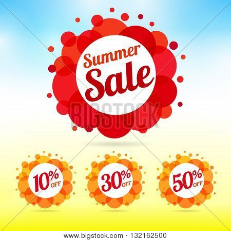 Set of summer sale label. Summer Sale collection vector label with lettering salle, 10%, 30% and 50% off framed by red and orange colorful bubbles