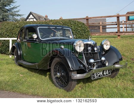 Worcester UK - March 13 2016 : Vintage Riley motor car put on display by its owner at a enthusiasts meeting.