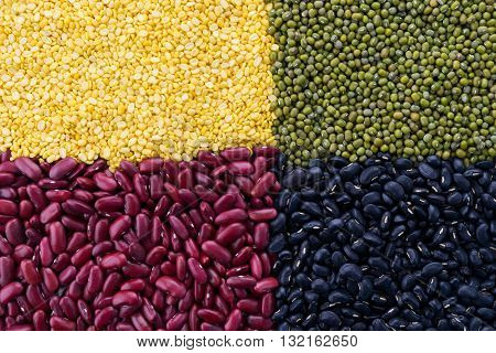 Soy beans Red beans black eyed peas and green beans with the health benefits of whole grains.