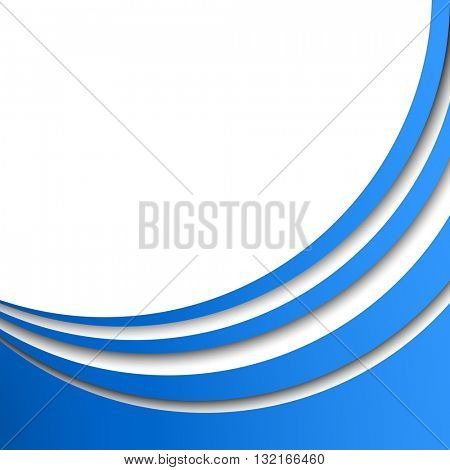 Abstract blue circular stripes vector background with white copy space. Title page or cover stylish  template with 3D effect stripes.