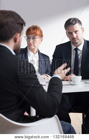 Shot of recruiters listening to a job applicant