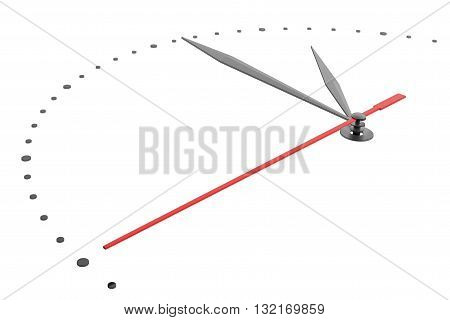 White wall clock isolated on white background. 3D illustration