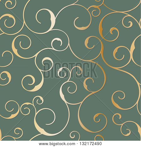 Vector seamless metallic swirly pattern on a black background.