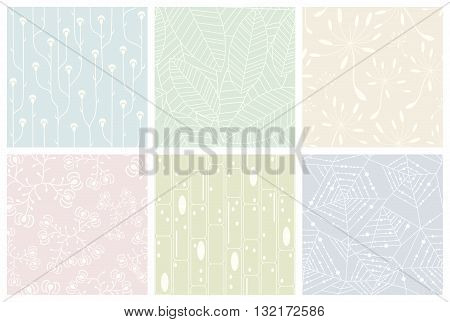 Set of organic patterns. Seamless vector backgrounds.