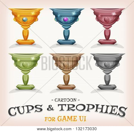 Illustration of a set of funny cartoon gold award winner cups and prizes in different levels and categories for game ui best score or success and wealth icons