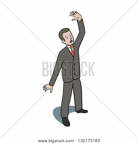 This is an illustration of Scared businessman