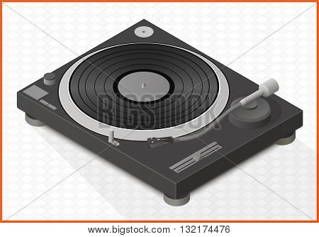 turntable isometric perspective view flat vector 3d illustration