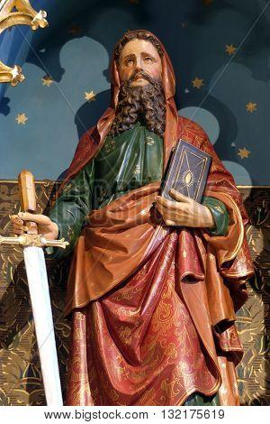 STITAR, CROATIA - NOVEMBER 24: Saint Paul statue on the main altar in the church of Saint Matthew in Stitar, Croatia on November 24, 2015