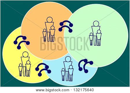 A family. Related ties. The picture shows the family that are linked by ties of kinship. These bonds constitute society.