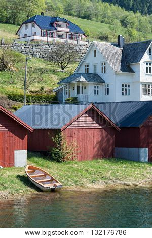Layered view of Hillside Houses in Olden, Norway