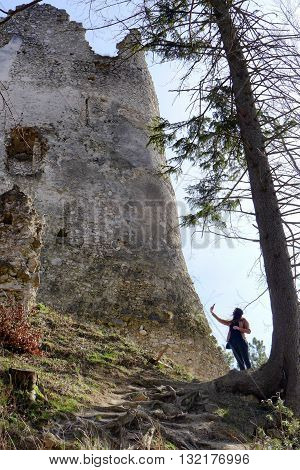 Ruins of Blacnicky castle and lonely girl - Slovakia