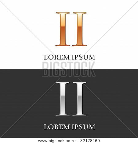 2, II, Luxury Gold and Silver Roman numerals, sign, logo, symbol, icon, graphic. Vector Illustration.