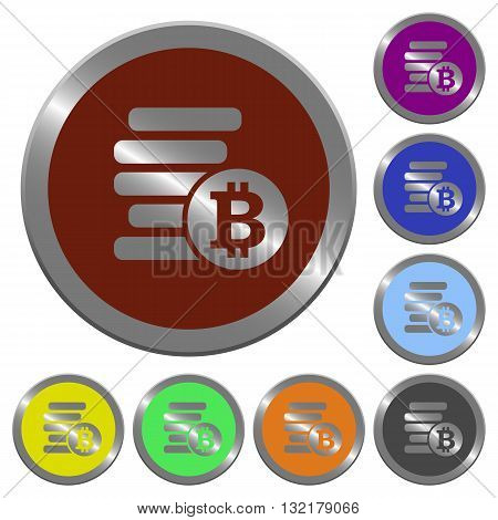 Set of color glossy coin-like bitcoins buttons.