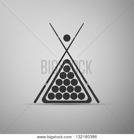Billiard cue and balls icon. Vector Illustration.