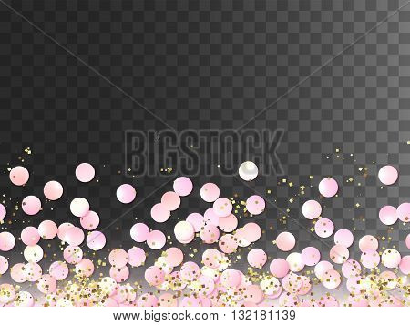 Seamless border of pink realistic confetti and gold glitter, design template for gift, certificate, voucher, AD brochure and so. Colorful vector illustration isolated on transparent background.