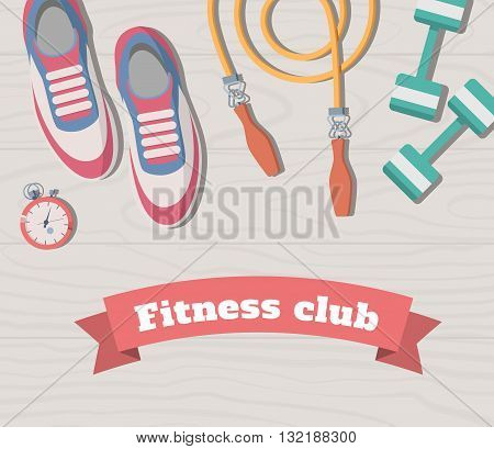 Tools for sport and fitness on the wooden floor. Vector rope with weights and sneakers all for training