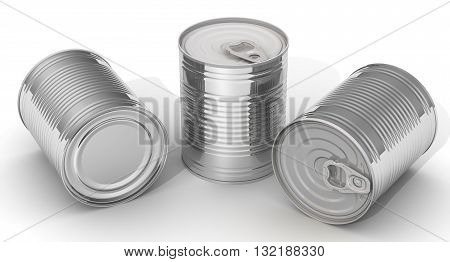 Tin cans. Three tin cans without label on a white surface. Isolated. 3D Illustration
