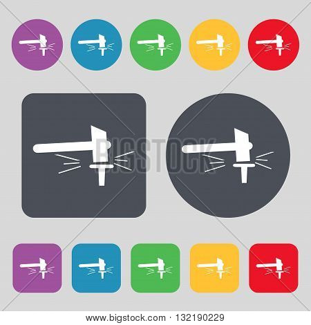 The Smithy. Forge And Stithy, Blacksmith Icon Sign. A Set Of 12 Colored Buttons. Flat Design. Vector