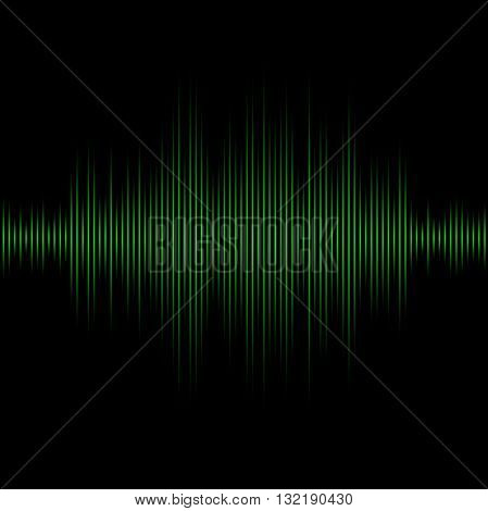 Green equalizer on black background. Vector Illustration.