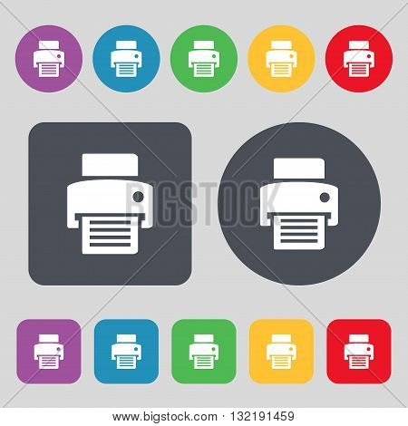 Fax, Printer Icon Sign. A Set Of 12 Colored Buttons. Flat Design. Vector